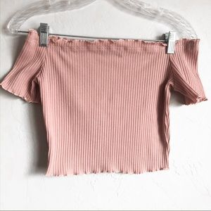 SHEIN Ribbed Off The Shoulder Top